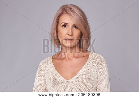 Portrait Of Sad Middle Aged Woman