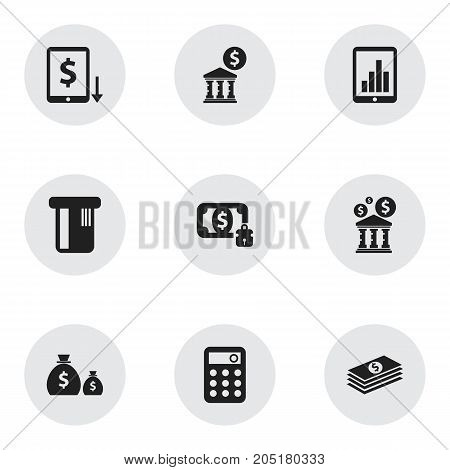 Set Of 9 Editable Financial Icons. Includes Symbols Such As Court House, Treasure, Decrease And More