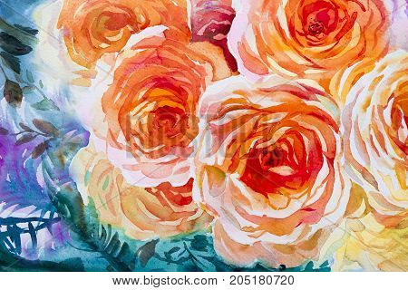 Painting flora art watercolor landscape original illustration orange, red color of roses and emotion beauty in nature season or abstract background. Hand painted Greeting cards on special occasions.
