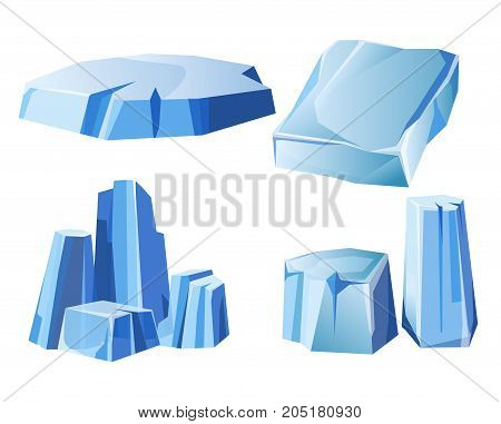 Ice rock, iceberg or icy frozen water mountain. Arctic polar snow iceberg glacier blue crystals vector icons set
