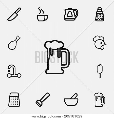 Set Of 12 Editable Meal Outline Icons. Includes Symbols Such As Teapot Appliance, Powdered Pepper, Dish And More