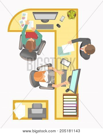 office or manager work place layout agency secretary department or company reception table and desk