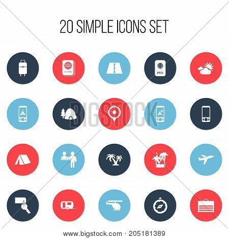 Set Of 20 Editable Trip Icons. Includes Symbols Such As Compass, Tree, Registration And More