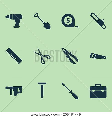 Tools Icons Set. Collection Of Tool, Saw, Handsaw Elements