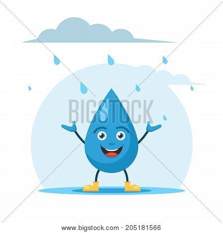 Cute rain drop character in rubber boots and enjoy the rain while standing in a puddle. Vector illustration in cartoon style isolated on white background
