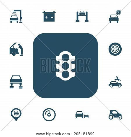 Set Of 13 Editable Car Icons. Includes Symbols Such As Accumulator, Mechanic, Tire And More