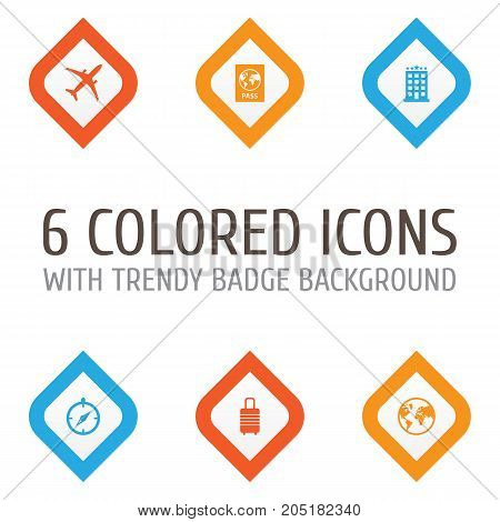 Traveling Icons Set. Collection Of Land, Planet, Suitcase Elements