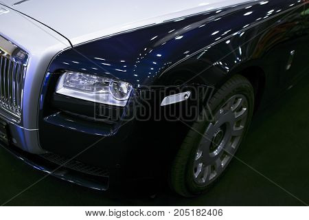 Sankt-Petersburg Russia July 21 2017: Front view of a Luxury car Rolls-Royce Phantom. Rolls-Royce Motor Cars Limited global manufacturer of luxury cars. Photo Taken on Royal Auto Show July 21