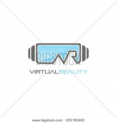Logo, icon of virtual reality.  Device. Sign, emblem vector template. Abstract symbol and button for virtual reality, video games, cyber, gaming company or service.