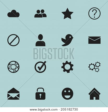 Set Of 16 Editable Web Icons. Includes Symbols Such As Home, Profile, Approved And More