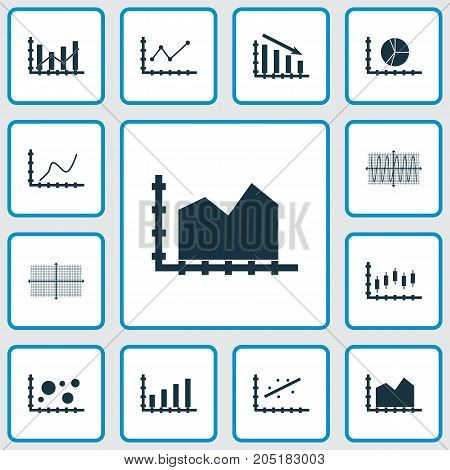Set Of Graphs, Diagrams And Statistics Icons. Premium Quality Symbol Collection