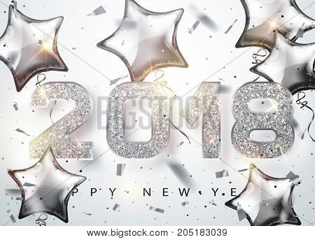2018 Happy new year. Silver Numbers Design with star shaped balloons of greeting card. Silver Shining Pattern. Happy New Year Banner with 2018 Numbers on Bright Background. Vector illustrator 10 eps.