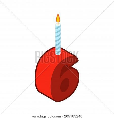 6 Number And Candles For Birthday. Six Figure For Holiday Cartoon Style. Vector Illustration