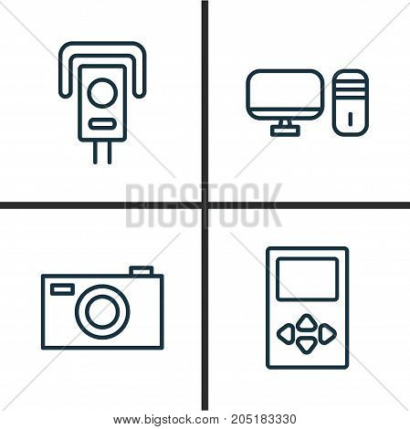 Hardware Icons Set. Collection Of Personal Computer, Player, Cctv And Other Elements