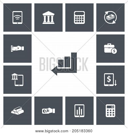 Set Of 13 Editable Investment Icons. Includes Symbols Such As Pay, Wireless Connection, Edifice And More