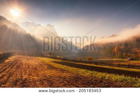 Sun Rays Through The Morning Fog In Mountainous Landscape In Aut