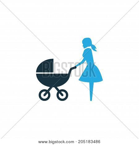 Premium Quality Isolated Perambulator Element In Trendy Style.  Stroller Colorful Icon Symbol.