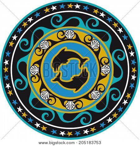 circular ornament delf and sea shell colored