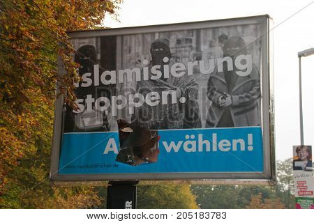 Magdeburg, Germany - September 22, 2017: Destroyed Advertising Of The Populist Afd. English Election