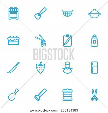 Set Of 16 Editable Meal Outline Icons. Includes Symbols Such As Berry, Board, Boiler And More