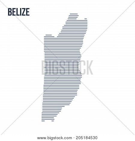 Vector Abstract Hatched Map Of Belize With Horizontal Lines Isolated On A White Background.