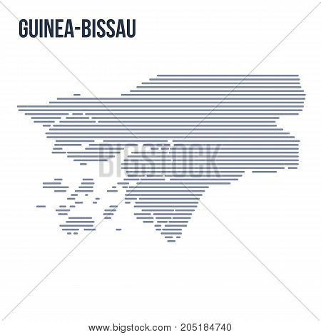 Vector Abstract Hatched Map Of Guinea-bissau With Horizontal Lines Isolated On A White Background.