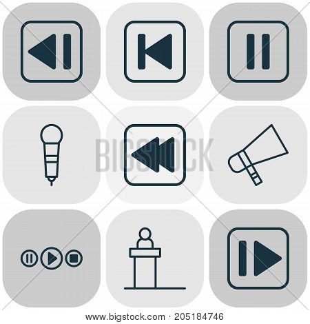 Audio Icons Set. Collection Of Rostrum, Bullhorn, Song UI And Other Elements
