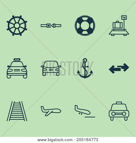 Delivery Icons Set. Collection Of Lifebuoy, Anchor, Air Transport And Other Elements
