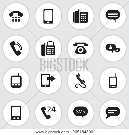 Set Of 16 Editable Phone Icons. Includes Symbols Such As Call, Comment, Mobile And More