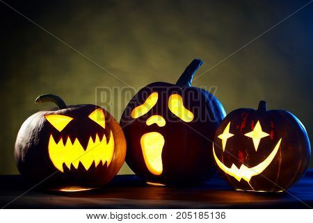 Group of Halloween Pumpkins, studio shot t