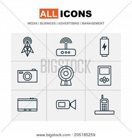 Device Icons Set. Collection Of Player, Camcorder, Digital Camera And Other Elements