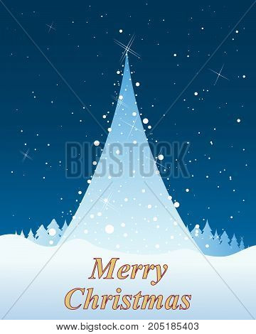an illustration of a christmas greeting card with abstract tree winter woodland and snow on a blue snowy background