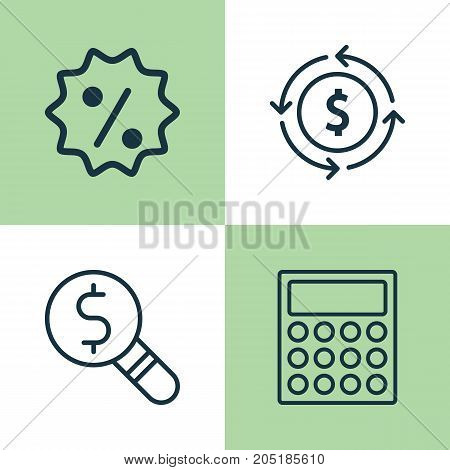 Commerce Icons Set. Collection Of Calculator, Rebate Sign, Finance And Other Elements