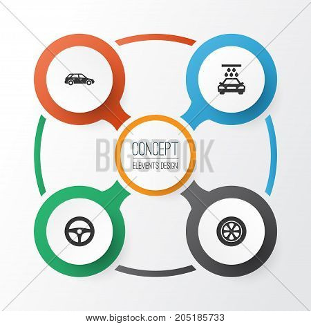 Auto Icons Set. Collection Of Drive Control, Transport Cleaning, Wheel And Other Elements