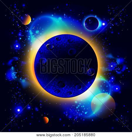 space background with planets, stars, flares, nebula, milky way and eclipse