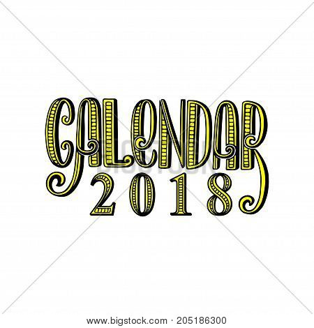 2 0 1 8 calendar cover lettering composition vector illustration