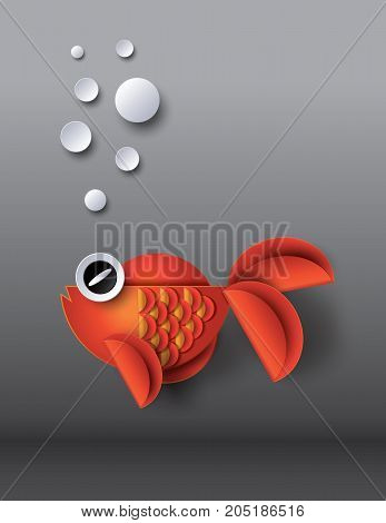 Orange goldfish with bobbles.paper cut style.goldfish  under water.