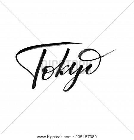 Hand written city name. Hand lettering calligraphy. Tokyo. Hand made Lettering, vector illustration