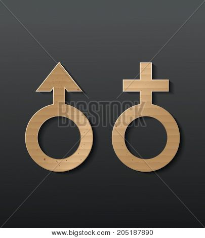 Sex icon cardboard with black background.male and female.