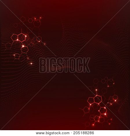 Source stream of big bang symbols. abstract, red background suitable for drawing up posters, web banners on medical or quantum physics topics. Vector illustration