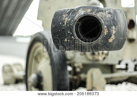 Tank gun facing to the camera man