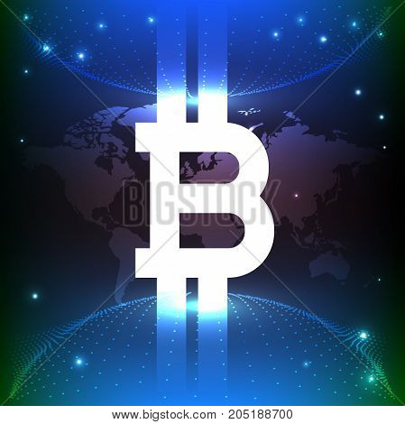 bitcoin digital currency. Blue background is the personification of the whole world. Ideal design screensaver on YouTube. vector illustration poster