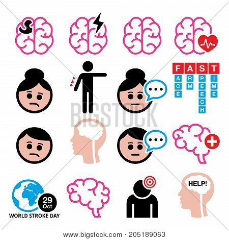 Brain stroke vector health medical icons - brain injury, brain damage concept