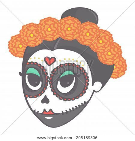 Cute girl sugar skull head with flower corolla for Day of the Dead or Halloween, colorful vector drawing isolated on white background