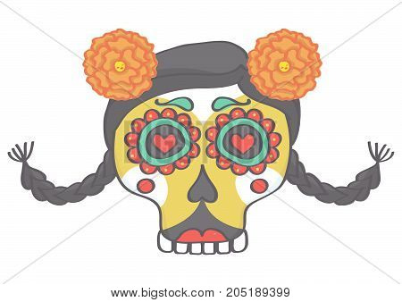 Colorful female sugar skull head in Halloween style with braids and flowers, vector drawing isolated on white background
