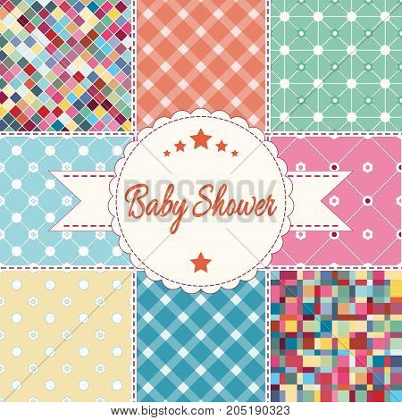 Vector illustration postcard. Baby shower invitation card. Baby girl boy or twins arrival shower Greeting announcement card. Embroidery patchwork stylization