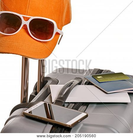Set of personal traveling items for summer journey abroad