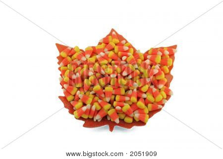 Maple Leaf Plate And Candy Corn