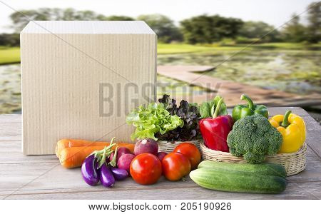 Food Delivery service: Vegetable delivery at home online order for cooking and packages box with blank for text. on wooden table background.
