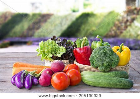Vegetable delivery at home online order for cooking on wooden table background.